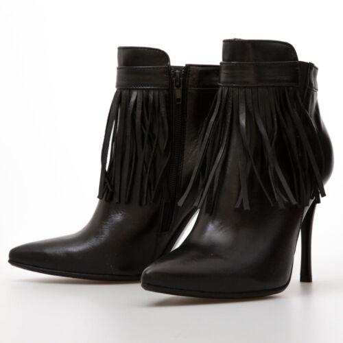 00c0709e32e9 Stiletto High Heel Black Tassel Fringe Ankle Boots