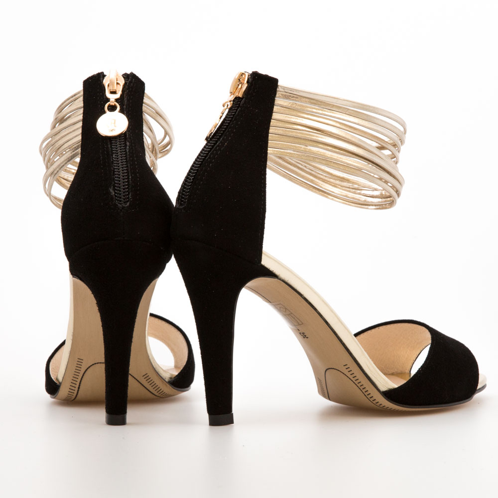 643b67e4ac2c Black Suede with Gold Strap Sandals – Chalany Shoes