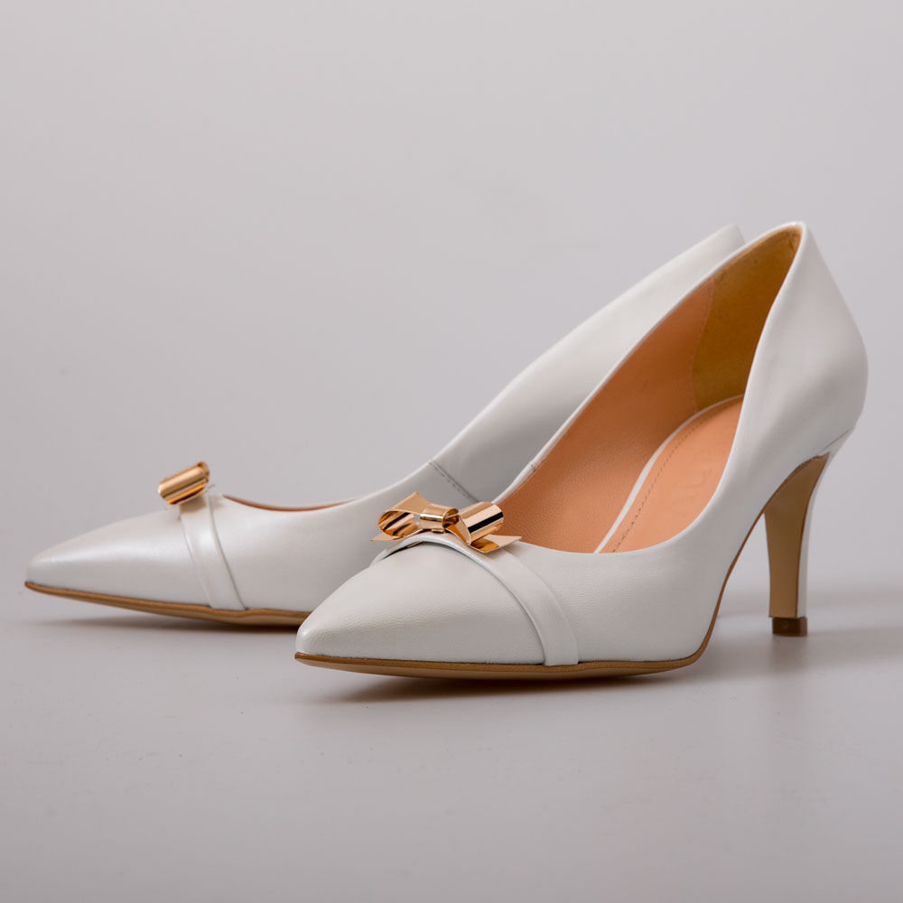 a25791a7486 White with Gold Bow Design Heels – Wedding – Chalany Shoes